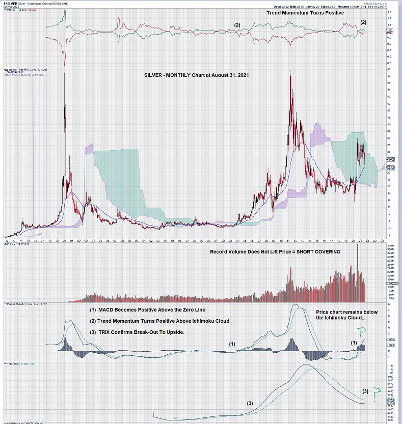 silver monthly chart Aug 31, 2021